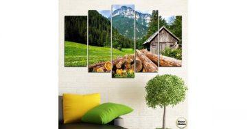 Декоративно пано за стена от 5 части с романтична планинска гледка – HD-770 – Smart Choice