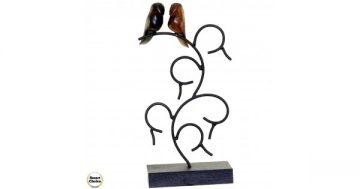 """Статуетка – декорация от дърво """"Влюбени птички"""" – 34 см. Модел – 81-6686 – Smart Choice"""