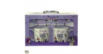 """Порцеланов комплект две чаши с чинийки и лъжички – """"Beautiful lavender"""". Модел 79-7070 – Smart Choice"""