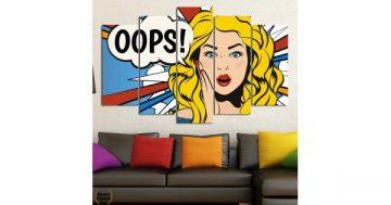 """Декоративно пано за стена от 5 части в стил Комикс """"Стресната блондинка"""" – HD-790 – Smart Choice"""
