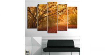 Декоративно пано за стена от 5 части с приказна есенна горска алея – HD-761 – Smart Choice
