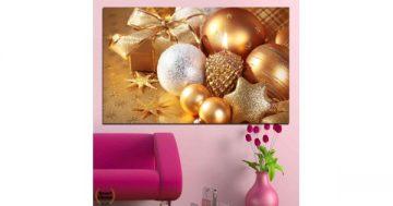 Картина пано за стена от 1 част с празнична украса и свещ – HD-414-1 – Smart Choice