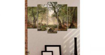 Декоративно пано за стена от 5 части – Горски пейзаж с елени – HD-788 – Smart Choice