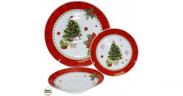 "Коледен порцеланов сервиз за хранене 18 части ""Коледна елха"". Модел 76-6925 – Smart Choice"