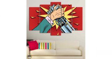 """Декоративно пано за стена от 5 части в стил Комикс """"Човек срещу робот"""" – HD-794 – Smart Choice"""