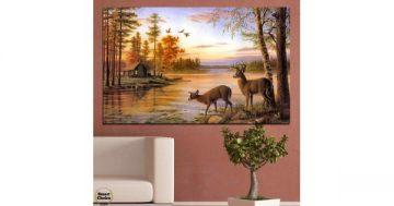 Картина пано за стена от 1 част – Елени пиещи вода на реката при залез – HD-789-1 – Smart Choice