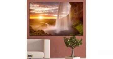 Картина пано за стена от 1 част с величествен водопад при залез – HD-101-1 – Smart Choice
