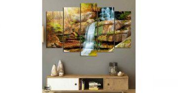 Декоративно пано за стена от 5 части пейзаж с каскаден есенен водопад – HD-863 – Smart Choice