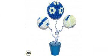 "Сувенир – Цветно дърво – топиар ""Трите рози"" – 52 см. Модел DM-9035 – Smart Choice"