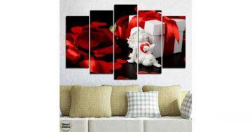 Декорация за стена от 5 части с червена роза и ангелче – HD-296 – Smart Choice
