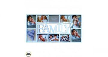 """Рамка за десет снимки – """"Family"""" 70/40 см. Бяла. Модел F-73472 – Smart Choice"""