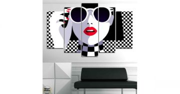 """Декоративно пано за стена от 5 части в стил Комикс """"Дама в черно и бяло"""" – HD-793 – Smart Choice"""