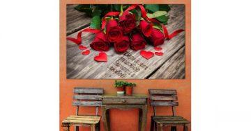 Картина пано за стена от 1 част – Красиви червени рози с послание – HD-874-1 – Smart Choice