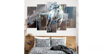 """Декоративно пано за стена от 5 части – Картината """"Белият кон на Слънцето"""" – HD-881 – Smart Choice"""