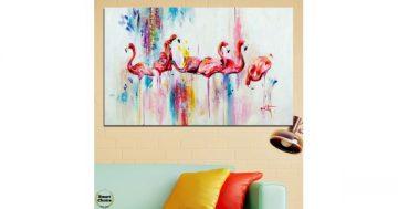 Картина пано за стена от 1 част с рисувани Розови фламинго – HD-787-1 – Smart Choice