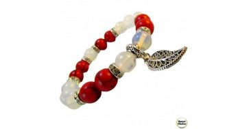 Дамска гривна от естествени камъни Червен корал и Лунен камък – DM-2435 – Smart Choice