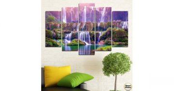Декоративно пано за стена от 5 части с приказен каскаден водопад – HD-877 – Smart Choice
