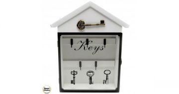 """Декоративна дървена кутия за ключове """"Keys"""" – стъклена вратичка – 23 см. Модел 88-904 – Smart Choice"""
