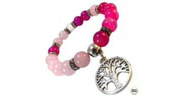 Дамска гривна от естествени камъни Розов кварц и Ахат – DM-2262 – Smart Choice