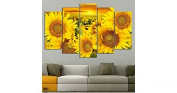 Декоративно пано за стена от 5 части – Летни слънчогледи – HD-915 – Smart Choice