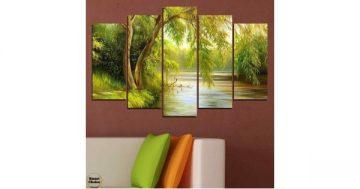 Декоративно пано за стена от 5 части – Върба край реката – HD-930 – Smart Choice