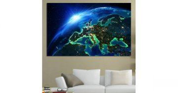 Картина пано за стена от 1 част – Нощ над Европа гледана от Космоса – HD-834-1 – Smart Choice