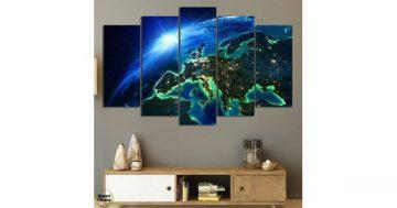 Декоративно пано за стена от 5 части – Нощ над Европа гледана от Космоса – HD-834 – Smart Choice