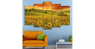 Декоративно пано за стена от 5 части – Летен пейзаж със слънчогледи – HD-856 – Smart Choice