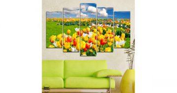 Декоративно пано за стена от 5 части Летен пейзаж с цветя – HD-875 – Smart Choice