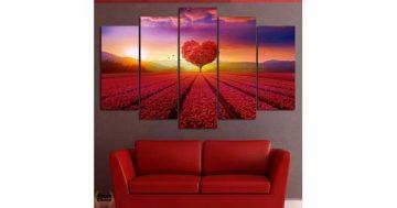 Декоративно пано за стена от 5 части – Дървото на Любовта – HD-968 – Smart Choice