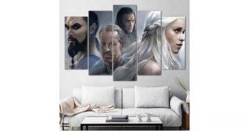 """Декоративно пано за стена от 5 части – """"Игра на тронове"""" герои – HD-938 – Smart Choice"""