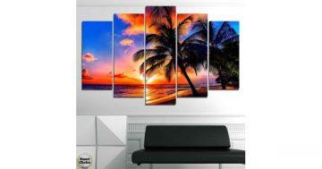 Декоративно пано за стена от 5 части с морски залез и палми – HD-975 – Smart Choice
