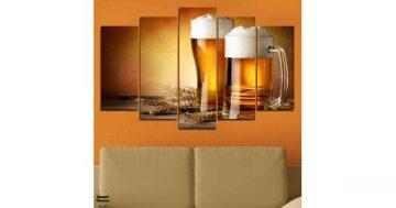 """Декоративно пано за стена от 5 части – """"Наздраве с пенлива бира"""" – HD-976 – Smart Choice"""