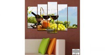 Декоративно пано за стена от 5 части с вино и плодове – HD-303 – Smart Choice