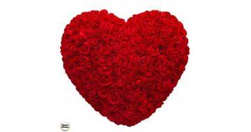 Ръчно изработено сърце от рози в тъмночервено 32 см. Модел DM-9085 – Smart Choice