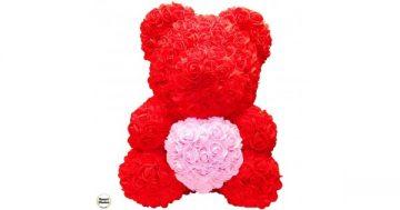 Ръчно изработено мече от рози в червено с розово сърце 37 см – Smart Choice