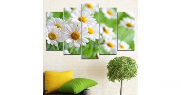 Декоративно пано за стена от 5 части – Поле с бели маргаритки – HD-929 – Smart Choice