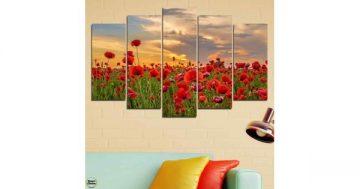 Декоративно пано за стена от 5 части – Поле с макове при залез – HD-970 – Smart Choice